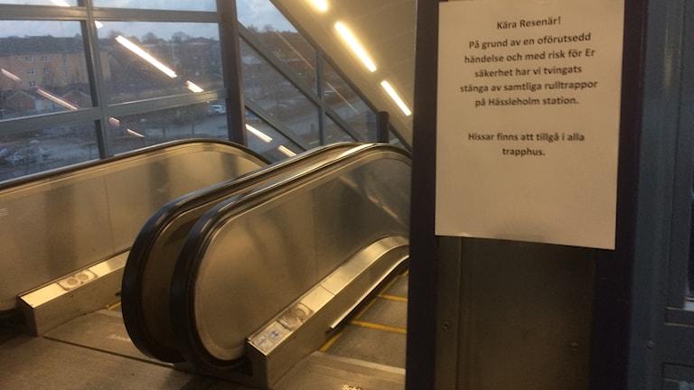 Stillastående rulltrappa i Hässleholm