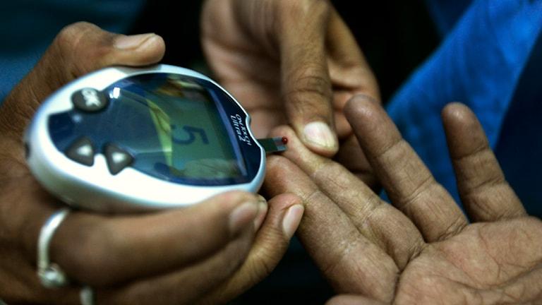 En läkare tar ett blodprov på en diabetespatient. Foto: Bikas Das/Sveriges Radio
