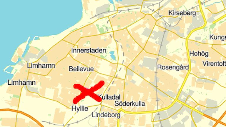 Karta med kryssmarkering