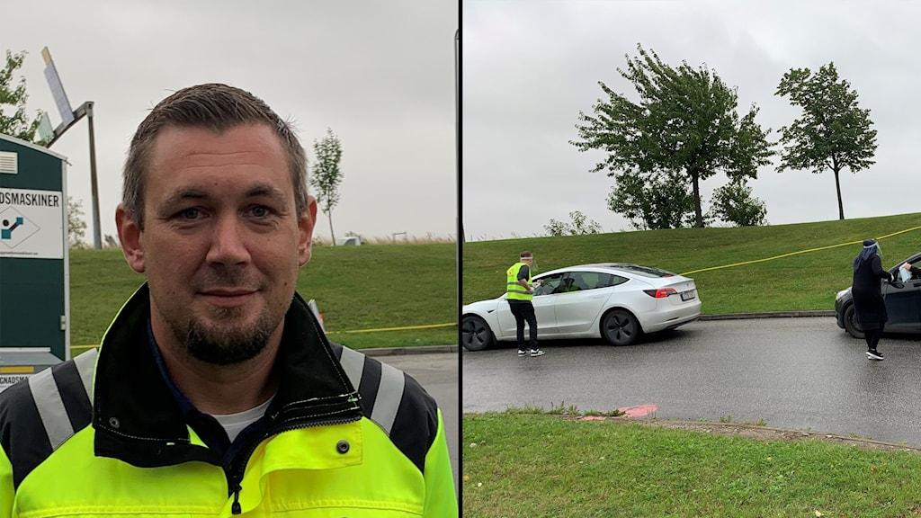 Till vänster i bild Roger Ohlsson som är ansvarig för de mobila testenheterna och till höger två bilar som är med i provtagningen.