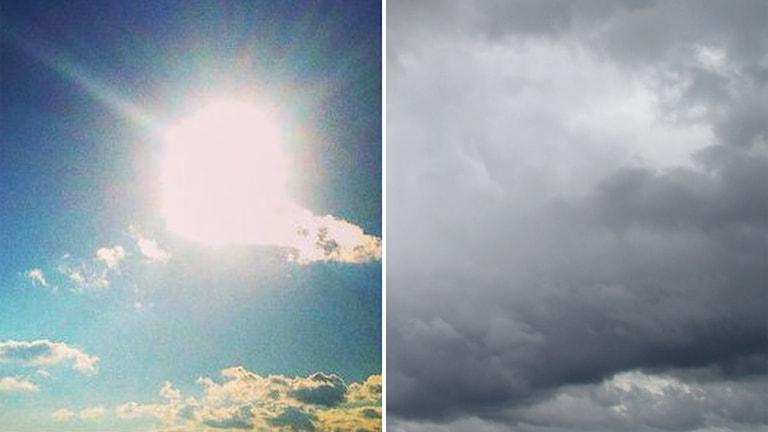 Två bilder: Sol på klar himmel och så en molnig himmel.
