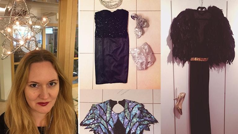 Porträtt på kvinna och kläder med glitter.