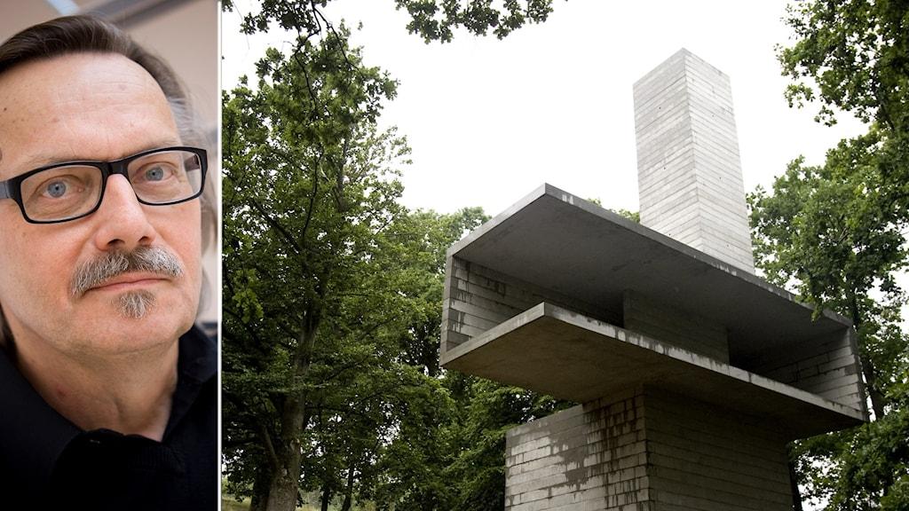 Porträtt på man och en cementbyggnad