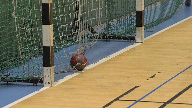 Handboll i tomt mål. Foto: Rickard Sturesson/Sveriges Radio