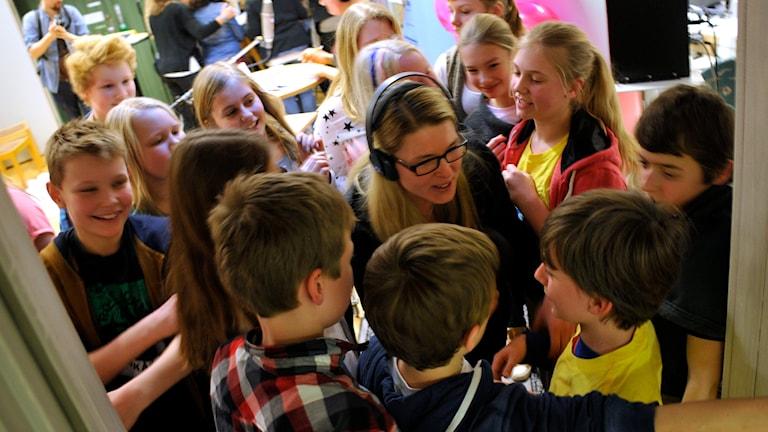 Vinnarjubel i Vi i femmanfinalen 2014. Foto: Björn Holgersson/Sveriges Radio