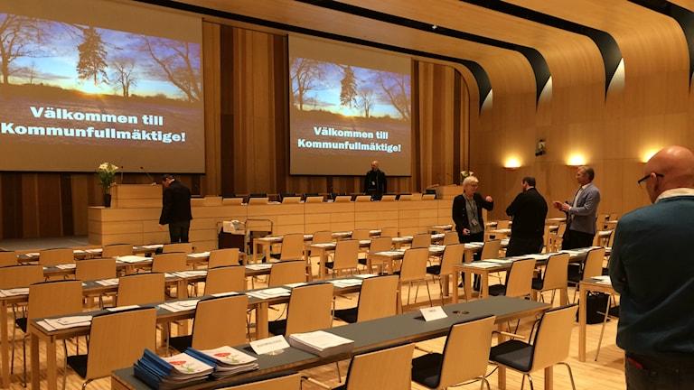 I Kristianstad har 36 helt nya ledamöter tagit plats i kommunfullmäktigesalen. Foto: Johanna Ravhed/Sveriges Radio