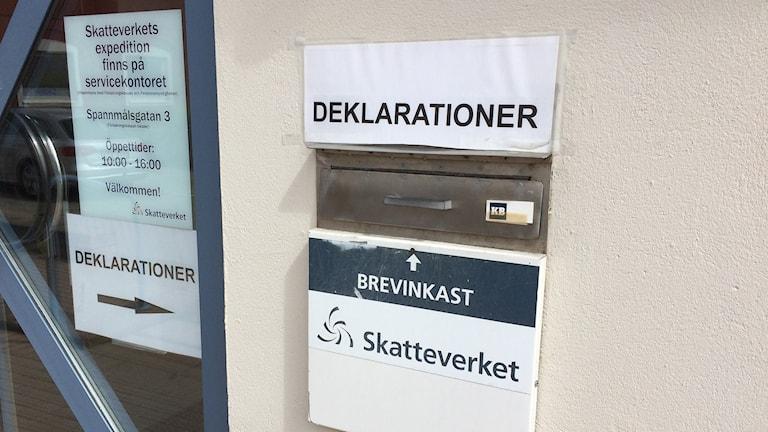 Skatteverkets brevinkast för deklarationer i Kristianstad. Foto: Rickard Sturesson/Sveriges Radio