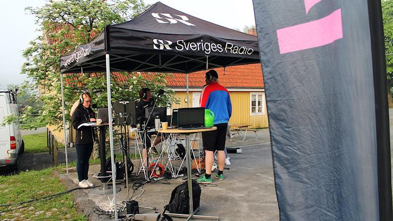 Morgonen flyttade studion till Stoby skola dar hela morgonprogramment kommer att sändas ifrån. Foto: Björn Holgersson/Sveriges Radio