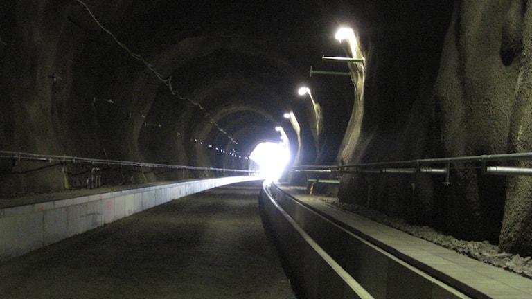 Nu ser man ljuset i tunneln genom Hallansåsen. Foto: Bosse Johansson/Sveriges Radio