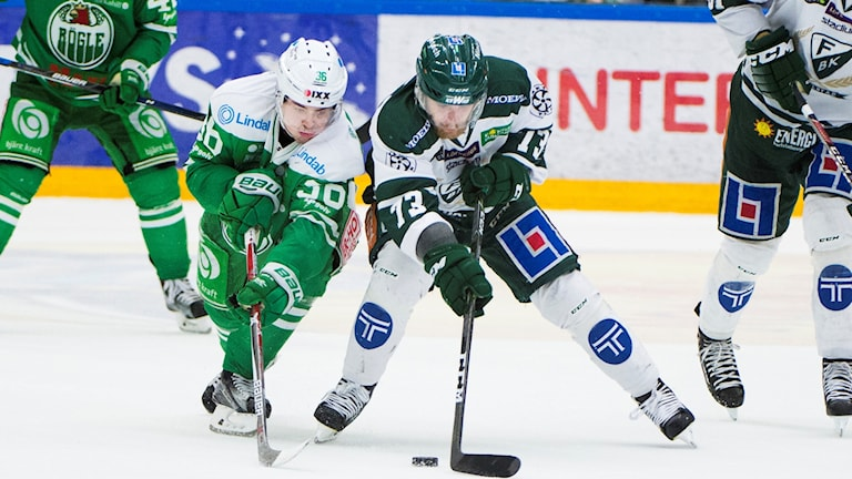 Rögles Filip Karlsson och Färjestads Anton Gundel under lördagens ishockeymatch i SHL mellan Rögle BK och Färjestad BK i Lindab Arena.  Foto: Emil Langvad / TT