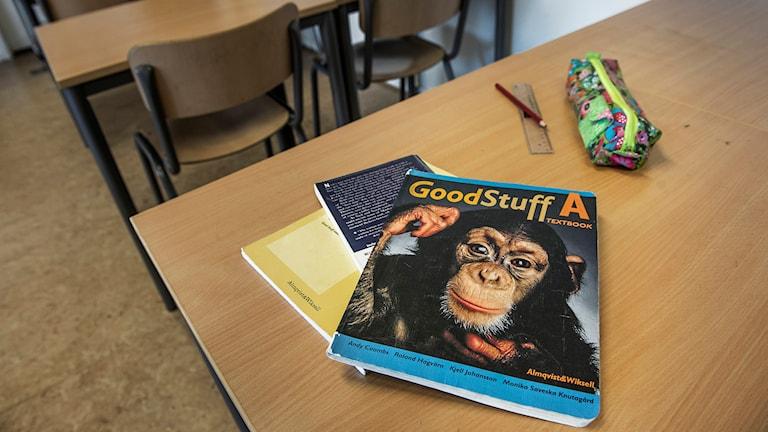 Läroböcker i engelska för grundskolan. Foto: Tomas Oneborg/TT