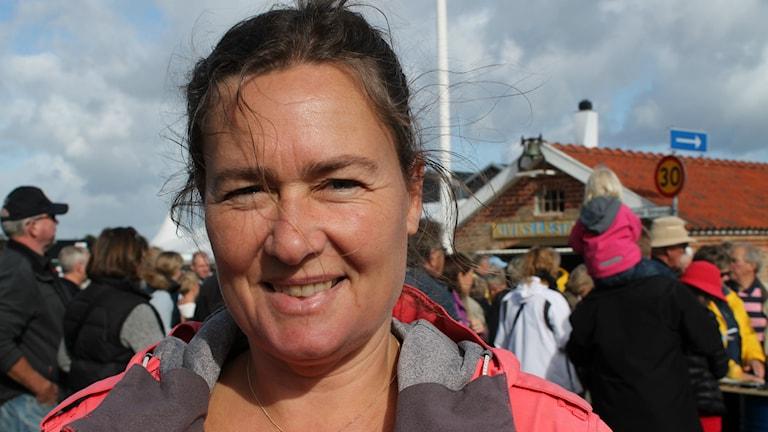 Emma Karp Lundström, skapare av Äppeltavlan. Foto: Malin Thelin/Sveriges Radio
