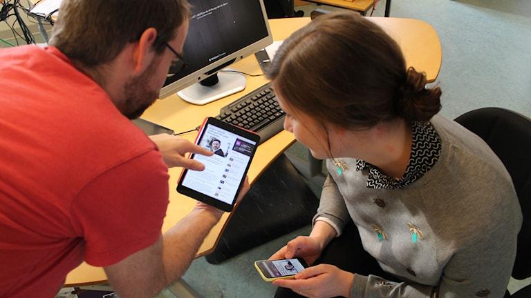Conny och Cecilia delar skärmar.
