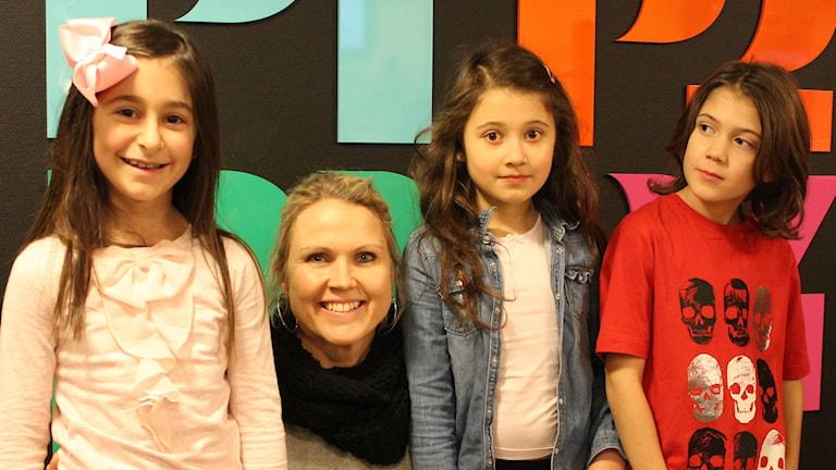 Emma, Madeleine, Alma och Darius på Antonskolan, Kristianstad