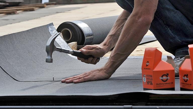 Man spikar ny takpapp på ett tak. Foto: Hasse Holmberg/TT