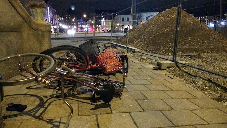 Cyklar har vält i Malmö under stormen Alexander