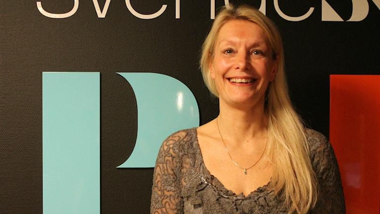Livsmedelsakademins VD Lotta Törner var dagens gäst i Hallå Makten. Foto: Matilda Ljungkvist / SR