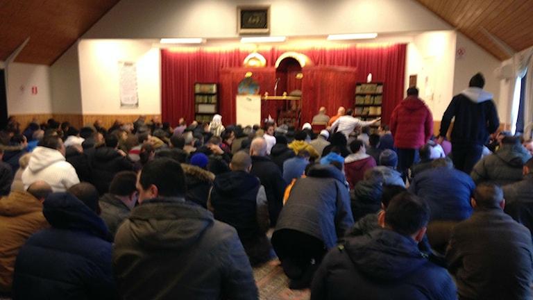 Fredagsbön vid Islamiska församlingens moské i Kristianstad. Foto: Patrik Hekkala/ Sveriges Radio