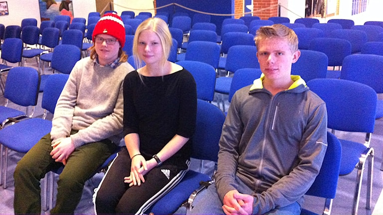 Arvid Eriksson, Nellie Norén och Anton Bondesson från Göingeskolan i Broby