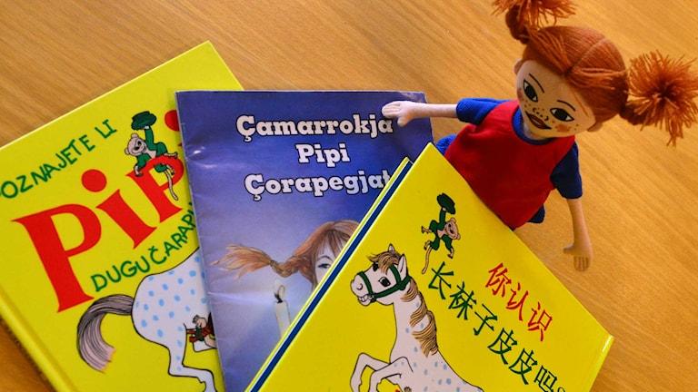 Pippiböckerna finns på många olika språk. Foto: Per Lundberg/Sveriges Radio