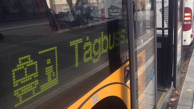 Tågbuss på centralstationen i Kristianstad
