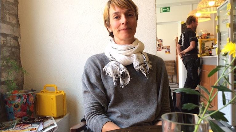 Charlotte Elm Ravn är producent i Kollaborativets teckenspråksprojekt. Foto: Malin Rimfors/Sveriges Radio