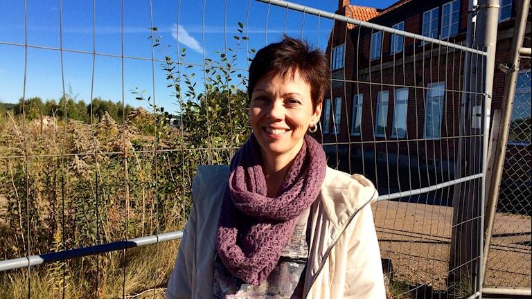 Monica Johansson vid fabrikskontoret