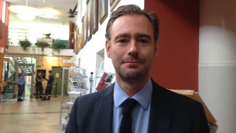 Åklagare Johan Lindmark, vid Riksenheten mot korruption. Foto: Linda Evereus/Sveriges Radio.