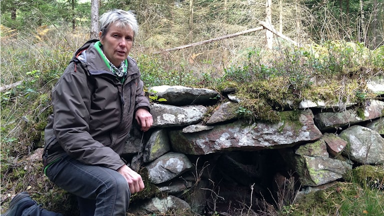 Ann Marke, skogsägare framför fornminne. Foto:Victor Eriksson/Sveriges radio