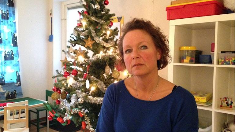 Marie Svensson kommer att sakna de gamla lokalerna. Foto: Victor Eriksson/Sveriges Radio.