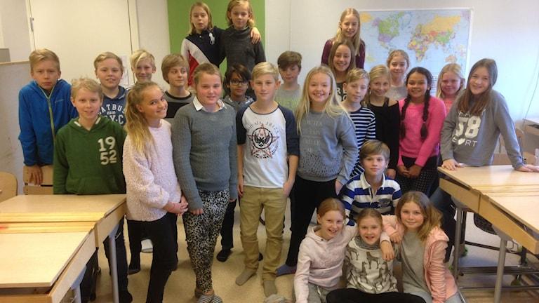 Klass 5A På Rönnowskolan tävlar i det mesta och har många råd att ge föräldrar. Foto: Jenny Johnsson Roos/Sveriges Radio