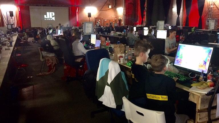 Lan i Ystad lockar hundratals e-sportare. Foto: Malin Rimfors/Sveriges Radio