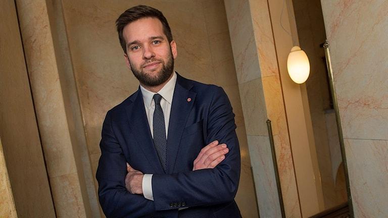 Gabriel Wikström, wasiirka ciyaaraha Sweden. Sawirle: Jonas Ekströmer/TT