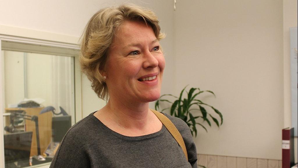 Maria Melén Fäldt, utbildar om coachande ledarskap på högskolan i Kristianstad. Foto: Jenny Sandgren/Sveriges Radio.
