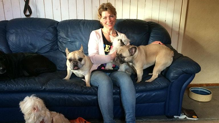 Lotta Bertilsson tillsammans med några av hundarna på hunddagiset.
