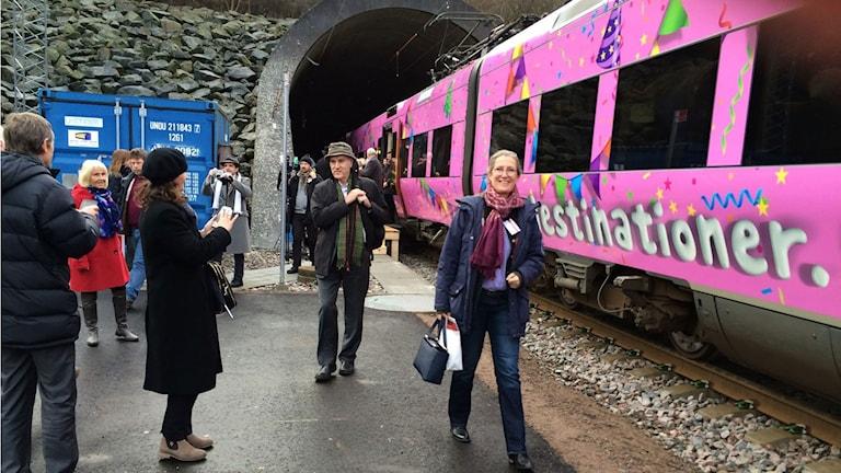 Tåget genom Hallandsåsen.