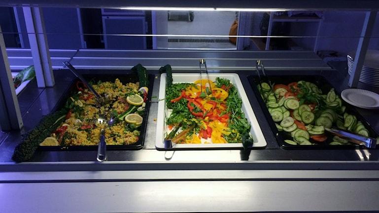 Dagens lunch på gymnasieskolan Åbyskolan.