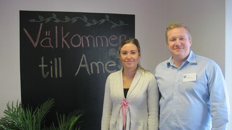 Johanna Biarner från Mc Donald's i Ökrelljunga och Magnus Lind som är chef för arbetsmarknadsenheten i Örkelljunga kommun
