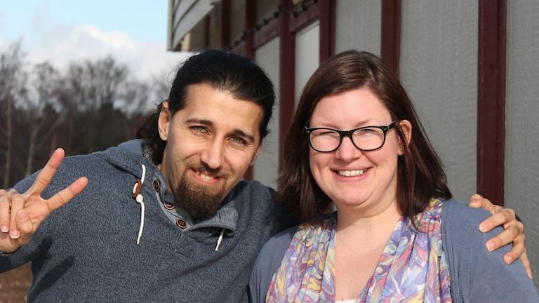 Yaser Al Kafri och Lejla Kalajdzisalihovic som jobbar på HVB-hemmet Körsbärsvillan i Tollarp.