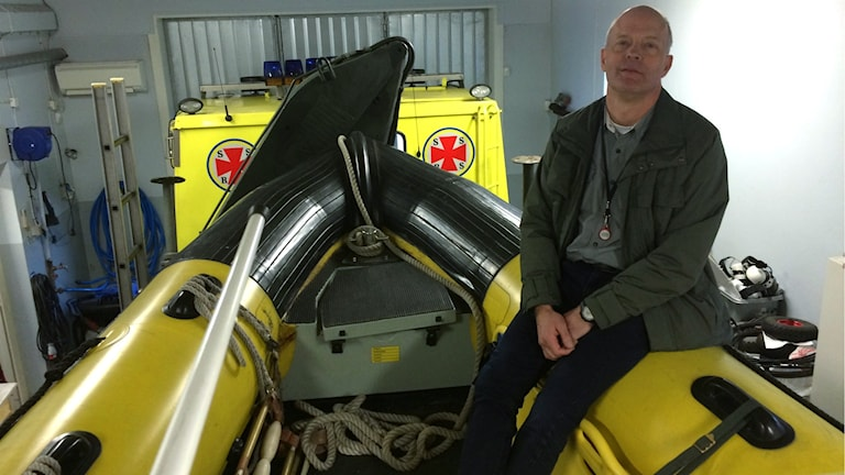 Mats Bergström på sjöräddningsstationen i Yngsjö.