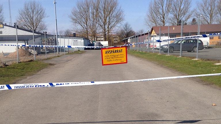 Platsen där bråket utbröt utanför en föreningslokal i norra Kristianstad. Foto: Linda Evereus/Sveriges Radio.