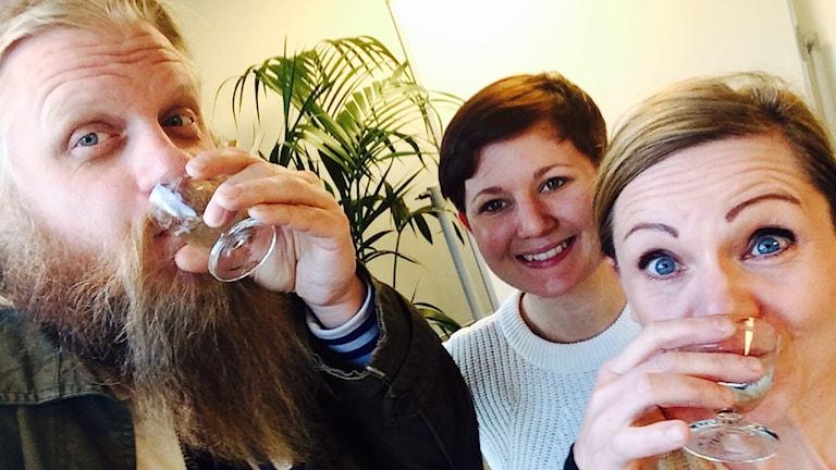 Johan dricker Kombucha med Sara Johansson och Jannice Wahlgren. Foto: Johan Pettersson/Sveriges Radio