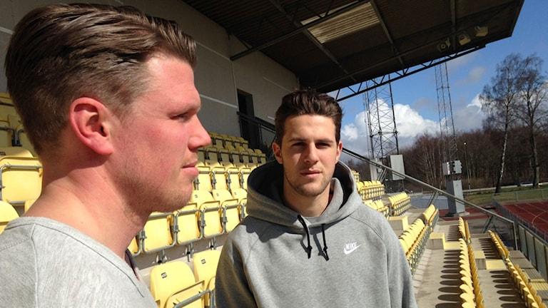 Christian Järdler, tränare, med nyförvärvet Oliver Stojanovic-Fredin