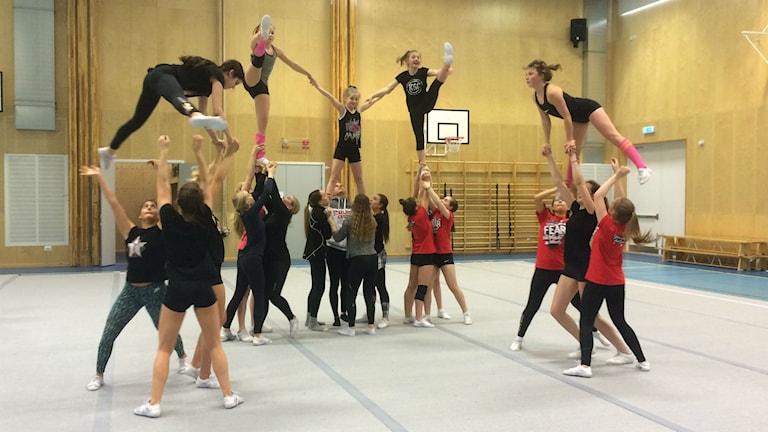 Cheerleading-föreningen tränar i Hammar utanför Kristianstad.