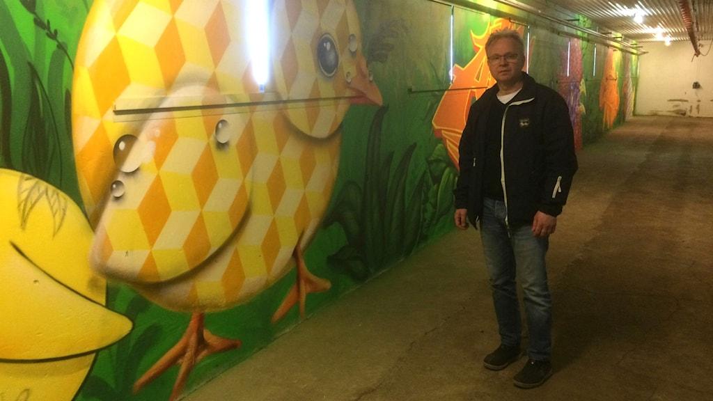 Per-Olof Ingemarsson hoppas att graffin ska göra att kycklingarna trivs bättre. Den gula kycklingen är målad av Tim Nedrup.