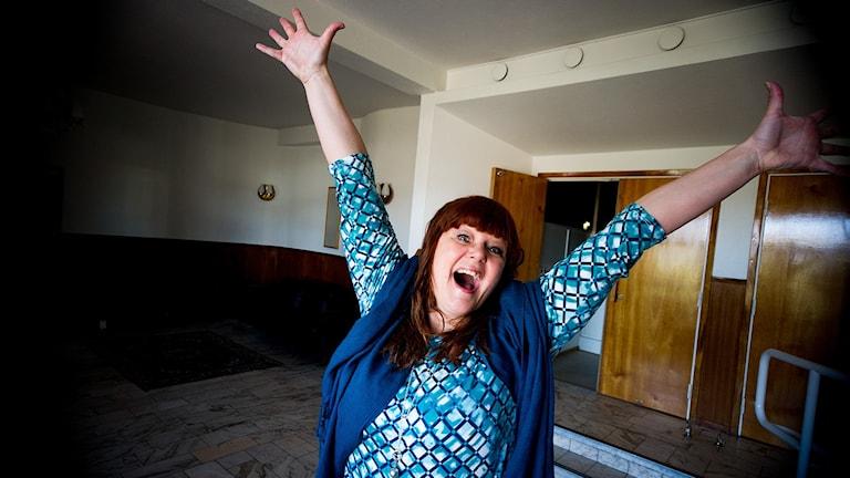 Heléne Lindquist är glad!! Foto: Johan Pettersson/Sveriges Radio