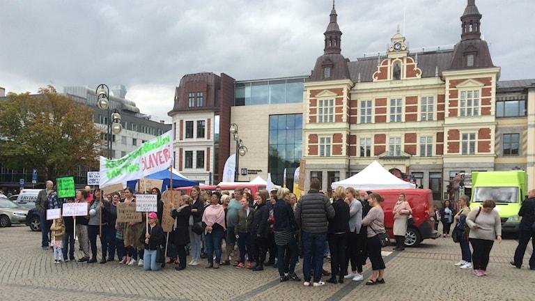 Demonstration mot Kristianstadsmodellen pågick under lördagen.