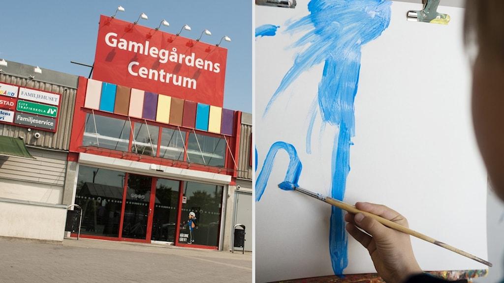 Montage. Till vänster en bild på entrén till Gamlegårdens centrum, till höger en bild på ett barn som målar med blå färg.