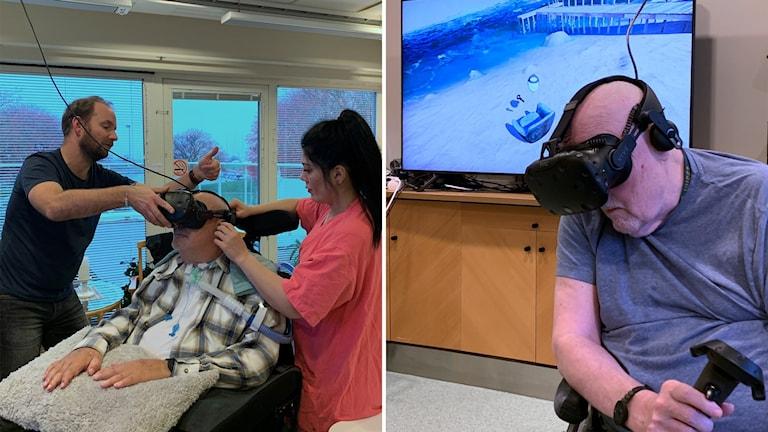 Anders Sjöberg och Olle Bergling gör VR-utflykter på Vittlingens vårdboende i Malmö.