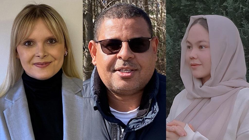 Tre personer från olika länder, Bosnien, Eritrea, och Afghanistan.